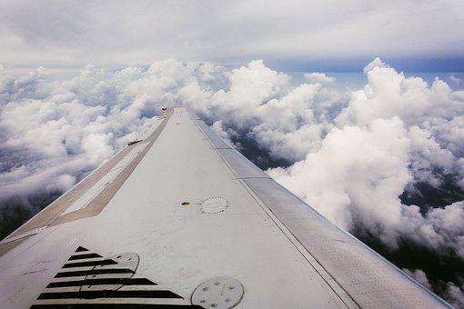 Plane, Wing, Clouds, Flight, Travel, Sky
