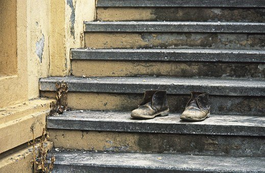Shoe, Age Shoe, Boots, From The Shoes, Tilted, Stairs