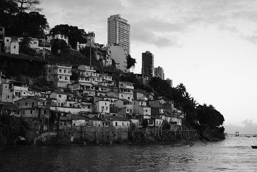 Favela, Mangu, Beach, Black And White, Brazil