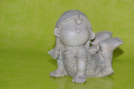 Girl, Ceramic, Imp, Troll, Stone Figure