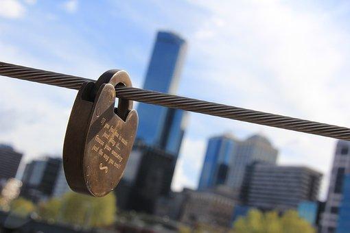 Lock, Bridge, City, Love, Heart, Symbol, Romance