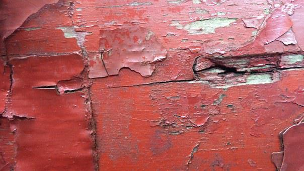 Wood, Weathered, Red, Lack Ab, Flaked Off, Color Layers