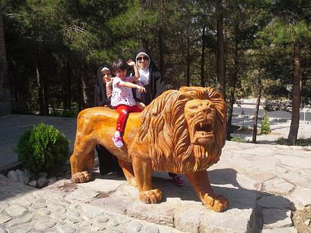 Family, Park, Lion, Together, Happy, Girl, Child, Woman