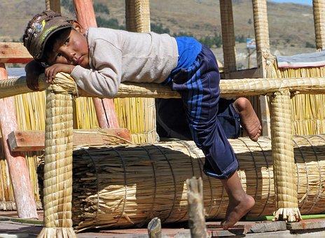 Peru, Lake Titicaca, Uros, Floating Islands, Child, Boy