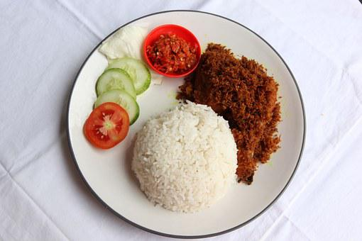 Nasi, Ayam, Penyet, Rice, Food, Indian, Cuisine