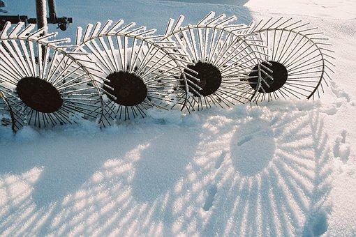 Winter, Hay Tedders, Hoarfrost, Frozen, Cold, Snow