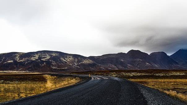 Iceland, Road, Journey, Travel, Mountains, Sky, Clouds