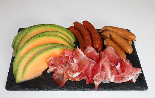Tapas, Food, Ham, Meat, Melon, Sausages