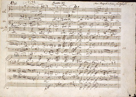 Mozart, Quartet In C, Notes, Handwritten, Music