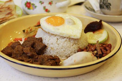 Asian Food, Beef, Rendang, Cucumber, Fish Cake, Coconut