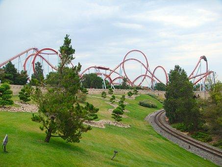 Catalonia, Spain, Amusement Park, Ride, Dragon Khan