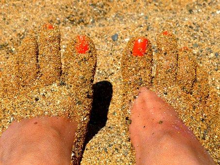 Feet, Sand, Part Of The Body, Beach, Barefoot, Summer