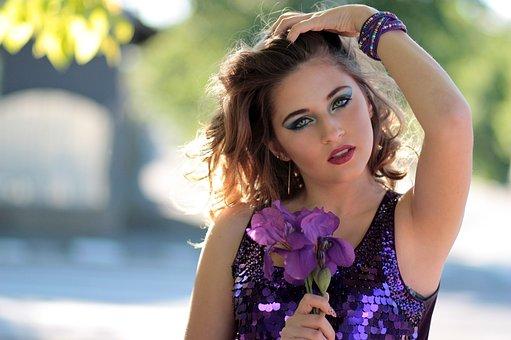 Girl, Dress, Flowers, Mov, Sequins, Shine, Blue Eyes