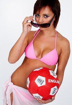Female, Bikini, Football, Sunglasses, Young, Summer