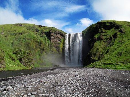 Skogafoss, Waterfall, Dinamet7, Water, Iceland, Nature