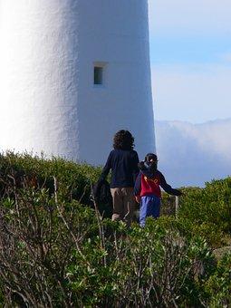 Woman, Child, Lighthouse, Coastal, Walking, Nature