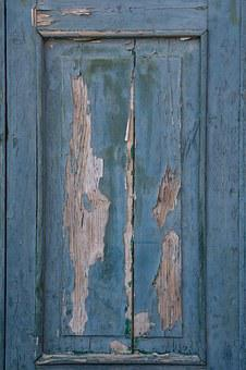 Wood, Paint, Old, Blue, Lacquered, Structure, Door