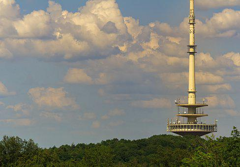 Radio Tower, Building, Tower, Sky, Clouds, Architecture
