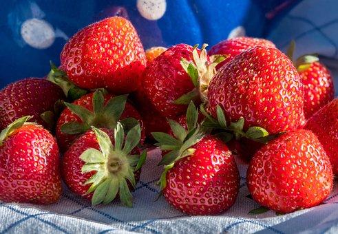 Strawberries, Jug, Milk Jug, Nostalgia, Blue, Vintage