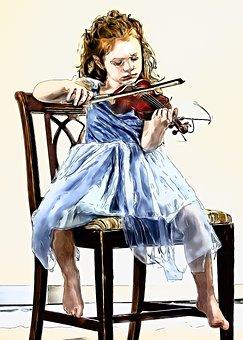 Violin, Child, Girl, Female, Human, Person, Music