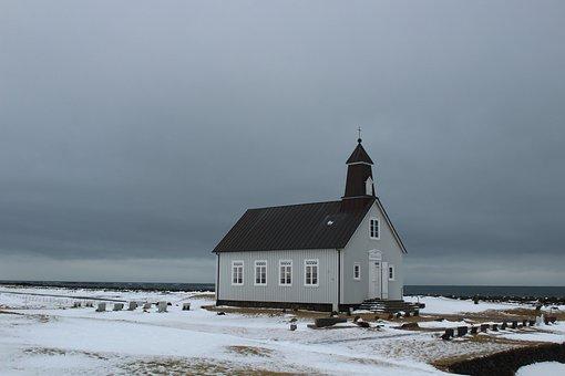 Iceland, Church, Sea, Ice, Snow, Chapel