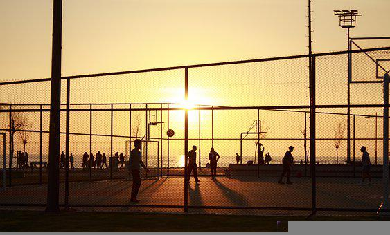 Sunset, Basketball, Court, Sport, Silhouette, Play