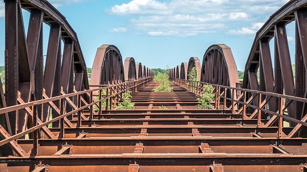 Railroad, Bridge, Railroad Bridge, Blue, Sky, Summer