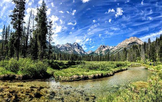 Wilderness, River, Mountains, Nature, Stream, Landscape
