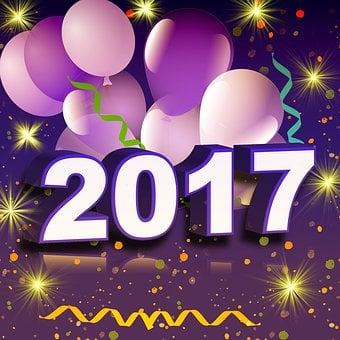 New Year's Eve, 2017, Balloons, Confetti, Number