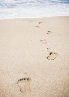 Sand, Beach, Footprints, Sea, Ocean