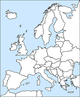 Europe, Map, Western, Political