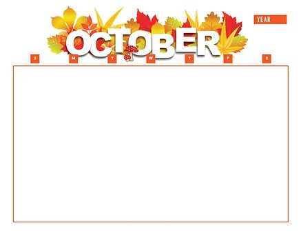 Calendar, October, Year, Month, Calendar Template