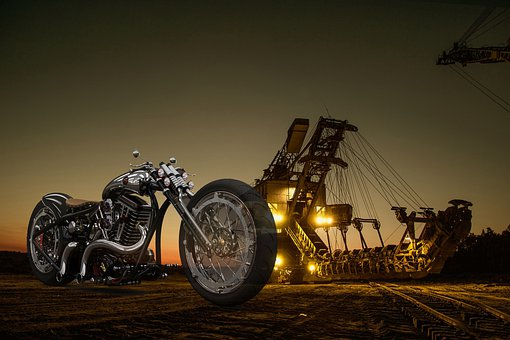 Motorcycle, Factory, Site, Symbol, Oil, Photomontage