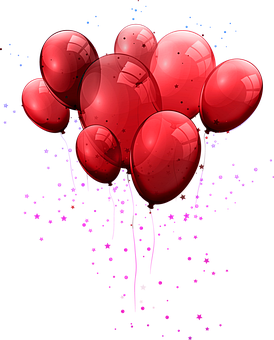 Red Balloons, Balloons, Party, Birthday