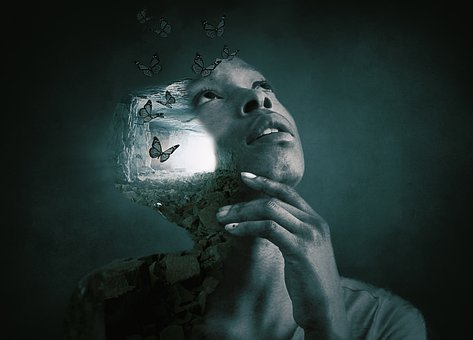 Woman, Face, Hands, Profile, Cave, Gallery, Light