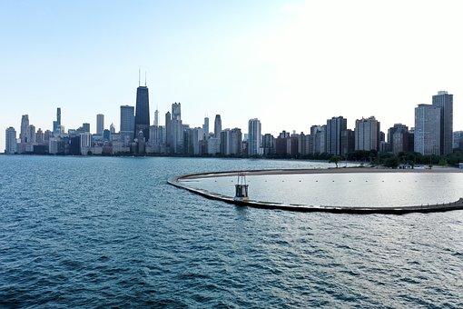 Lake Michigan, Chicago, Skyline, Urban