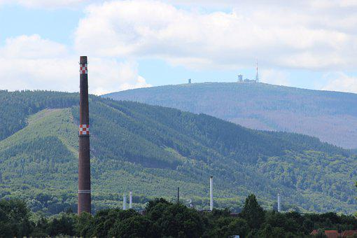 Chimney, High, Industry, Industrial Plant, Pollution