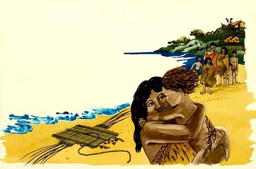 Tribal, Beach, Mother, Child, Village