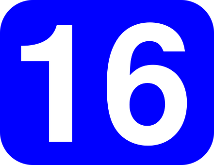 Number, Sixteen, 16, Rounded, Rectangle, Blue, White