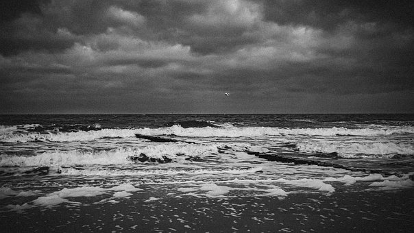 Sea, Baltic Sea, Wave, Storm, Clouds, Sky, Twilight