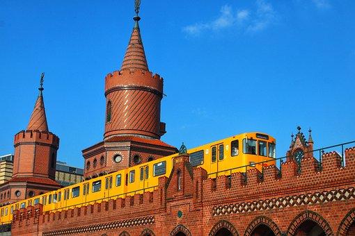 Bvg U-bahn, Spree, Day, Tower, Traffic, Train, Old