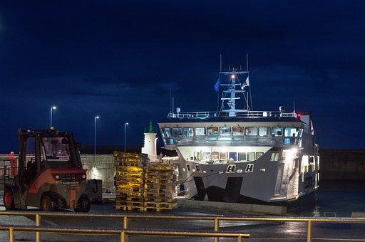 Port, Boat, Coast, France, Sea, Night, City, Ship
