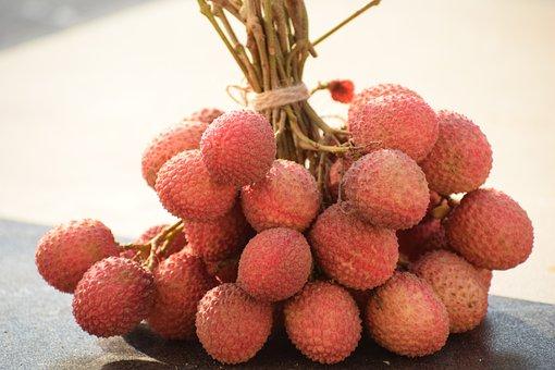 Litchi Bunch, Litchee, Fruits, Juicy, Lechee, Lichee