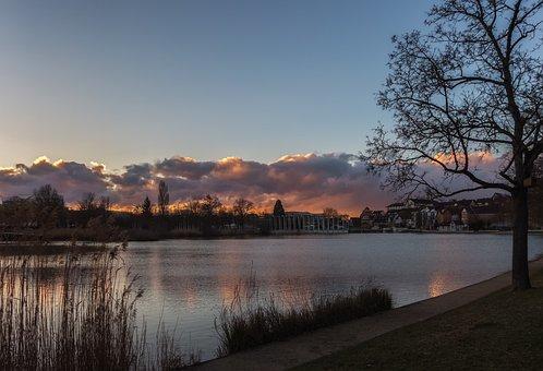 Lake, Park, Nature, Sunset, Water, Sky, Mirroring, Tree