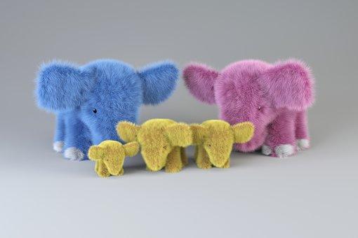 Elephants, Family, Toys, Plush Elephants