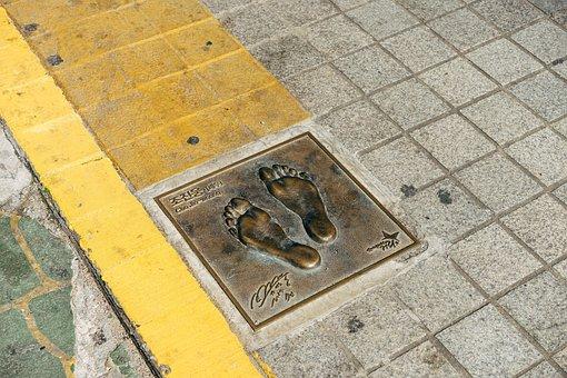 Footprint, Sidewalk, Road, Steps