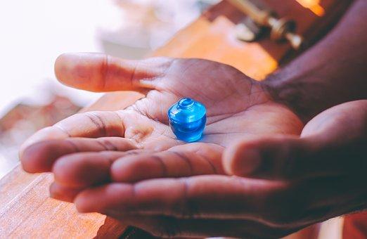 Topaz, Puja, Offering, Relics, Hands, Blue, Sacred