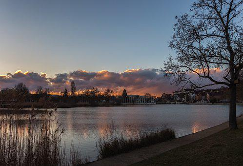 Lake, Park, Nature, Sunset, Water, Sky