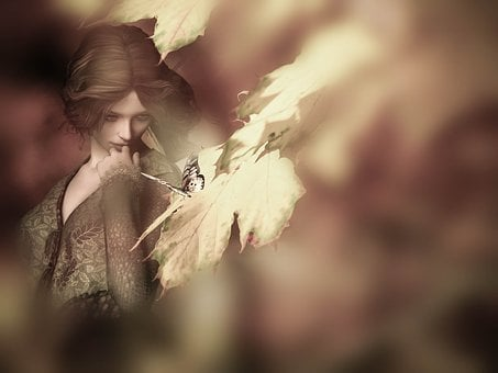 Autumn, Girl, Butterfly, Composing, Leaves, Nature