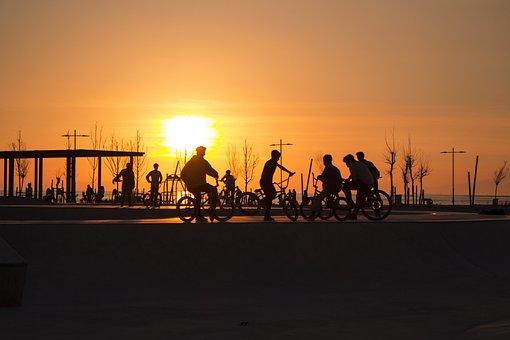 Bicycle, Children, Bike, Boy, Happy, Sport, Sun, Sunset